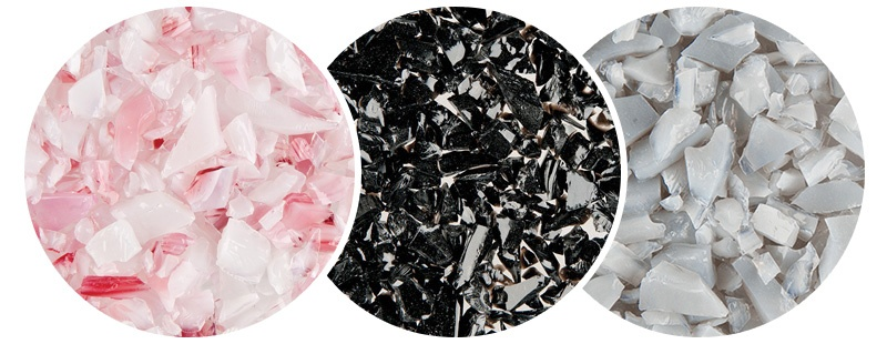 pink, black and white glass pieces