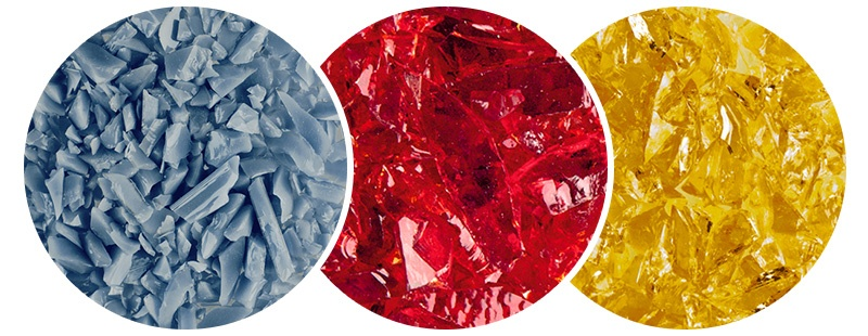 grey, red, and yellow glass pieces