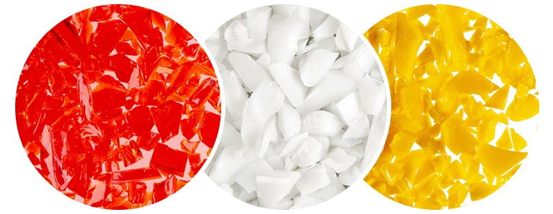 red, white, yellow glass pieces