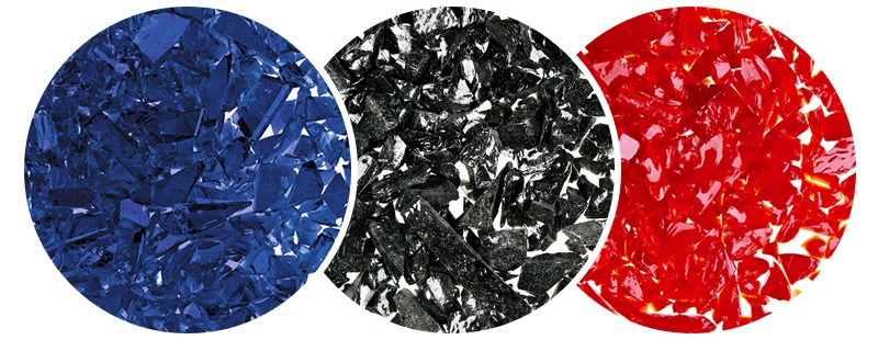 Blue, Black and Red glass pieces