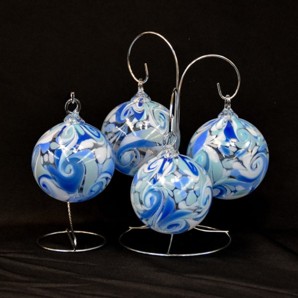 Wedding Glass Keepsakes set of 4 ornaments with stands