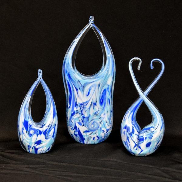 3 unity glass sculptures
