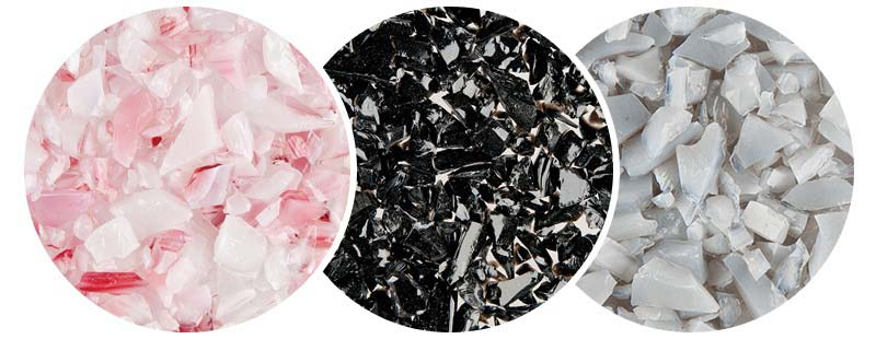 Pink, black and gray glass pieces for Unity Glass